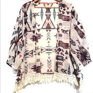 Xhilaration Kimono with tassel fringe trim
